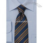 Midnight blue silk tie with copper diagonal stripes
