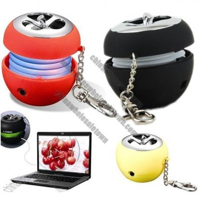 Mini Apple Shaped Portable USB Rechargeable Speaker with Keychain