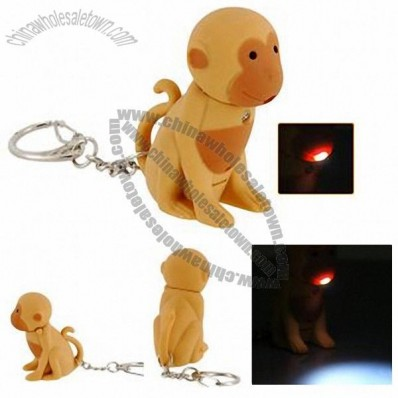 Mini Cute Monkey LED Keychain with Funny Sound