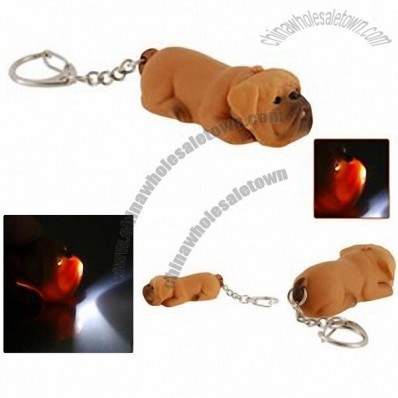 Mini Cute Shai-pei Dog LED Keychain with Funny Sound