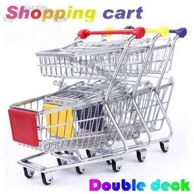 Mini Double Deck Shopping Cart Desk Organizer Phone Holder and PenHolder