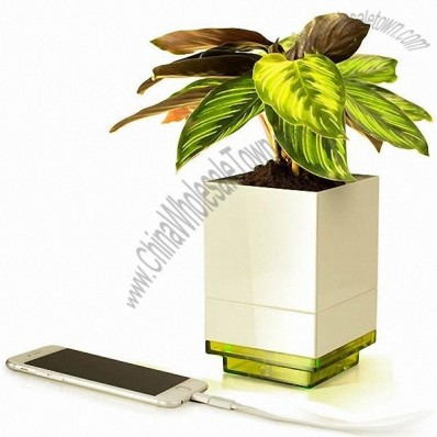 Mini Flower Pot with 4 Port USB Charger Adapter