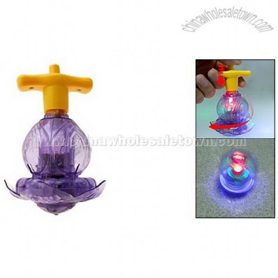 Mini Purple Lotus Plastic Electronic Flashing Peg-Top Toy