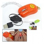 Mini Retractable Laptop PC 3D USB Optical Mouse with Clip