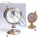 Mini Silver Atlas Axis Clock - Crystal Tellurion Miniature Clock