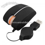 Mini USB Optical Mouse Retractable Cable