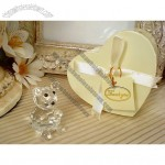 Mini crystal bear in satin lined heart box
