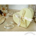 Mini crystal shell in satin lined heart box
