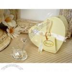 Mini crystal swan in satin lined heart box