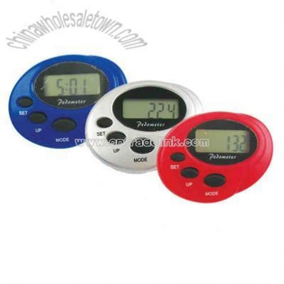 Mini oval pedometer with clock