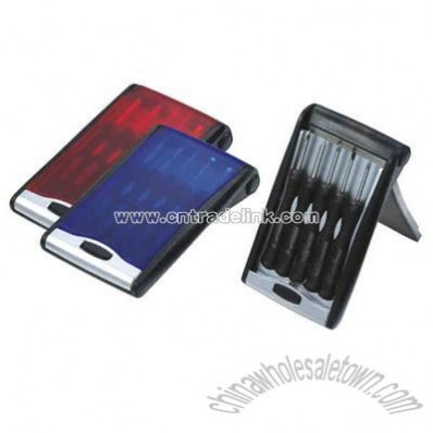 Mini screwdriver set in hinged case