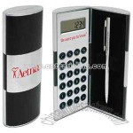 Mini twist-action ballpoint pen and digit calculator set
