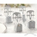 Miniature Silver Chair Favor Box with Heart Charm and Ribbon