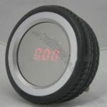 Mirror Sound Control Tire Shaped Table Clock