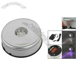 Mirror Top 7 LEDs Colorful Light Round Silver Tone Display Base Stand
