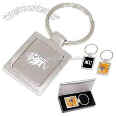 Mirrored silver split keyring with inlay