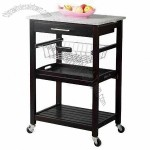 Mobile Kitchen Cart in Stone Table Top with Wire Baskets and Storage Shelf