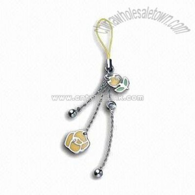 Mobile Phone Strap with Color Drop and Crystal