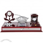 Modern Office Stationery Set With Clock, Calculator, Clip Dispenser, Pen Holder, Memo, Storage Box