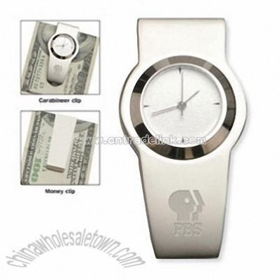 Money clip with quartz alarm clock