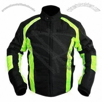 Motorcycle Jacket with 600D Polyester Oxford Shell and Reflective Stripes