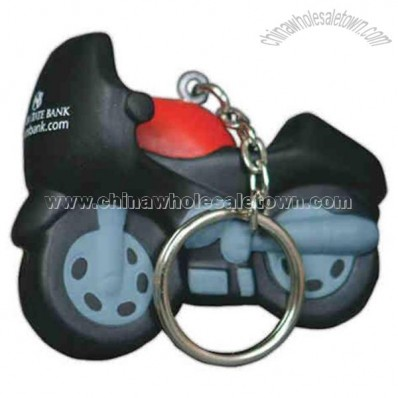 Motorcycle shape stress reliever keychain