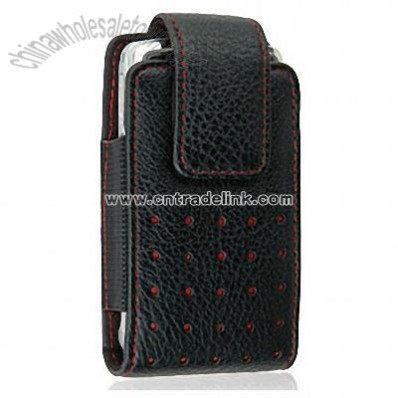 Motorola Rival A455 Black Leather Case Pouch Red Dots & Stitches
