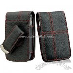 Motorola Rival A455 Black Leather Case Pouch With Red Cross Stitches