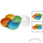 Multi Color Plastic Fruit Candy Covered Dish Bowl 4 Section