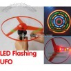 Multi Colors LED Flying UFO Pull Line Out Three Leaves Frisbee Flashing Disc Toy
