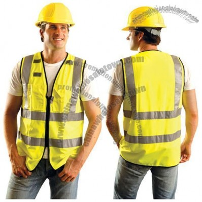 Multi-Pocketed Traffic Vest with Zippered