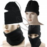Multi-purpose One Hole Black Fleece Thermal Full Face Mask Facemask Balaclava Scarf