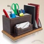 Multifunction Leather Pen Holder with Bookend and Name Card Holder