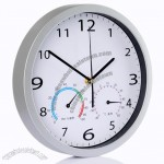 Mute quartz decoration 11 inch wall clock thermometer and hygrometer