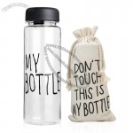 My Bottle Transparent Plastic Water Bottle with Drawstring bag