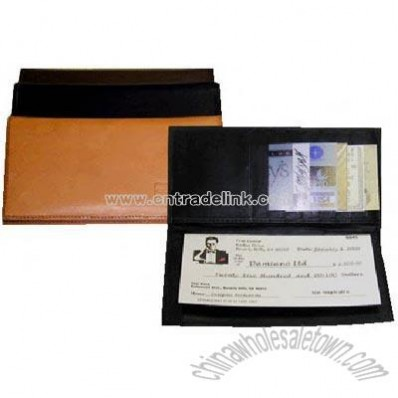 Naked leather checkbook wallet