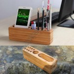 Natural Bamboo Pen Holder Desk Organizer