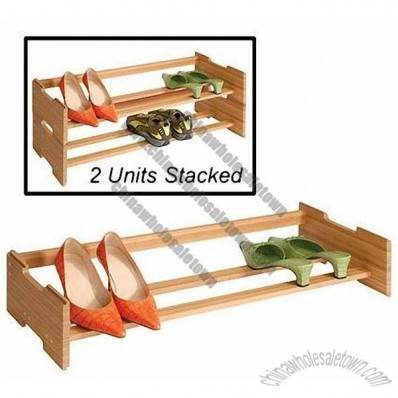 Natural Bamboo Stackable Shoe Rack