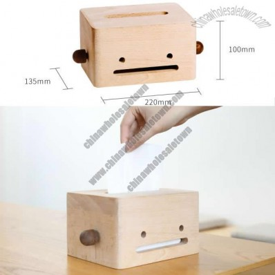 Natural Solid Wood Tissue Box