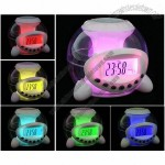 Natural Sound Music Seven Colors Light Alarm Clock with Calendar and Pen Holder