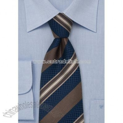 Navy & Brown Striped Silk Tie