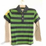 Navy & Green Striped Polo Rugby Shirt sz 9/10 Yrs