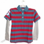 Navy & Red Striped Polo Rugby Shirt sz 5/6 Yrs