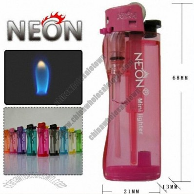 Neon Mini Lighter with Removable Flint Rack