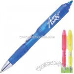 Neon pen highlighter with molded grip.