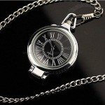 New Antique Vintage Style Black Dial Magnifier Elegant Pendants Quartz New Necklace Pocket Watch