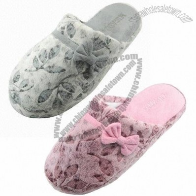 New Design Women's Slipper with Printed Terry Cloth and EVA Outsole