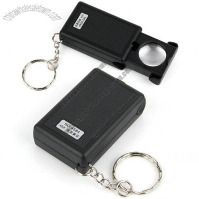 New Pull-Type 45x optical glass lens Jewelry Magnifier with LED Light Source Keychain