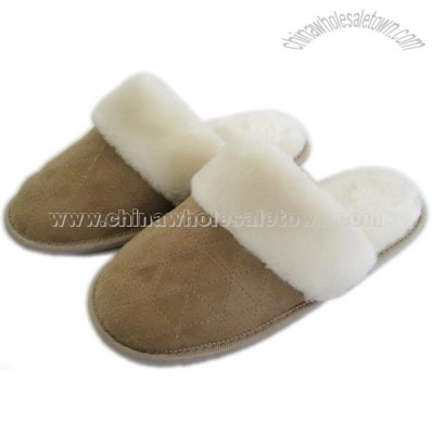 New Suede Fur Trimed Lady's Memory Foam Slipper