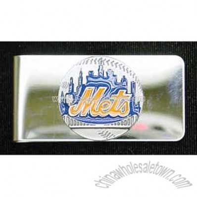 New York Mets Pewter Enameled Money Clip